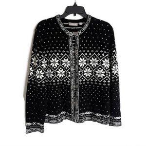 Croft & Barrow acrylic snowflake sweater sz M
